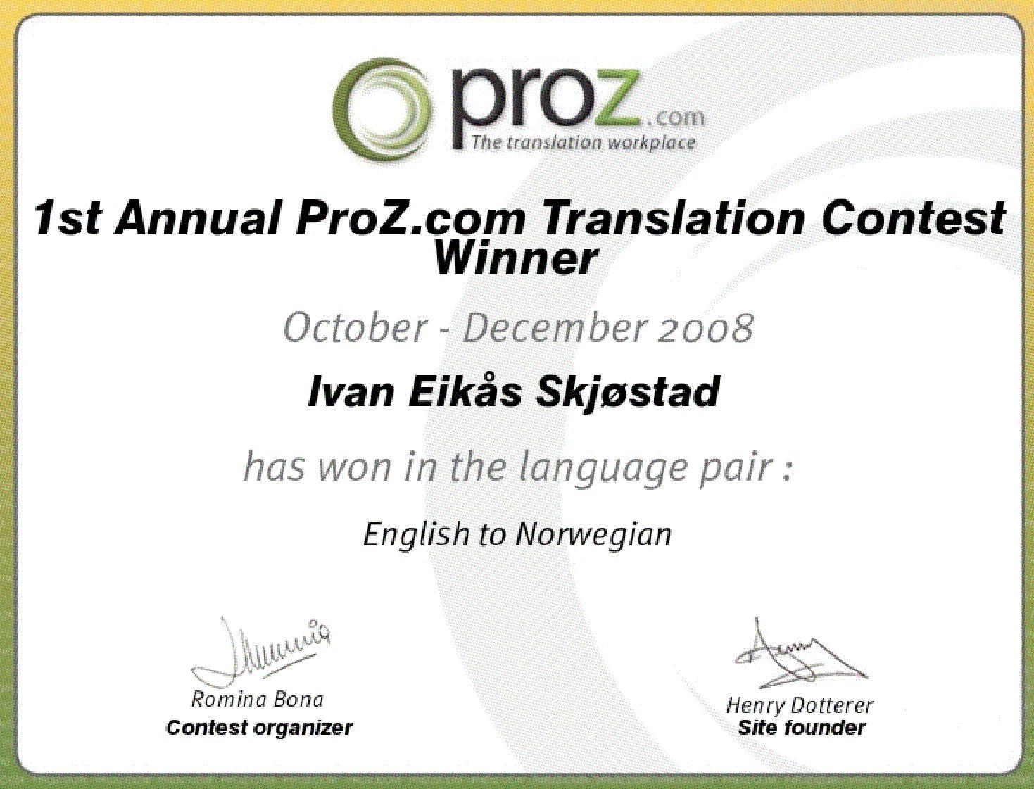 Winner English Norwegian
